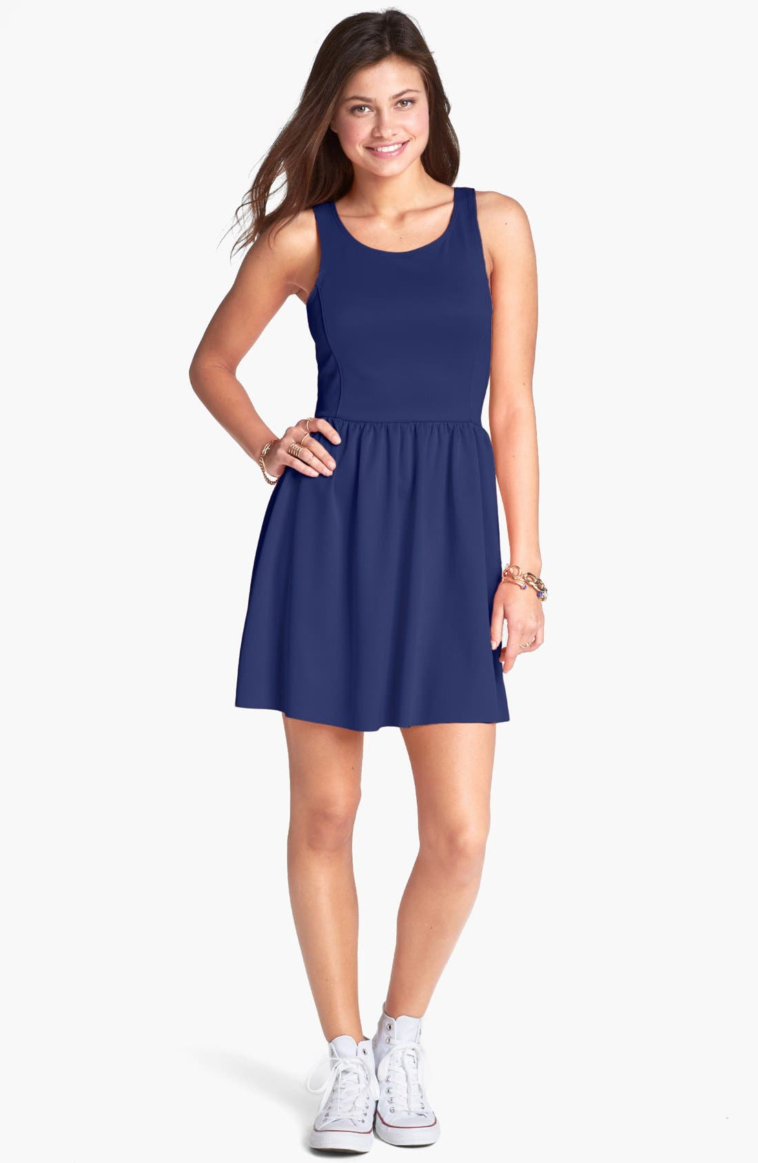 Alternate Image 1 Selected - Frenchi® Ponte Racerback Dress (Juniors)