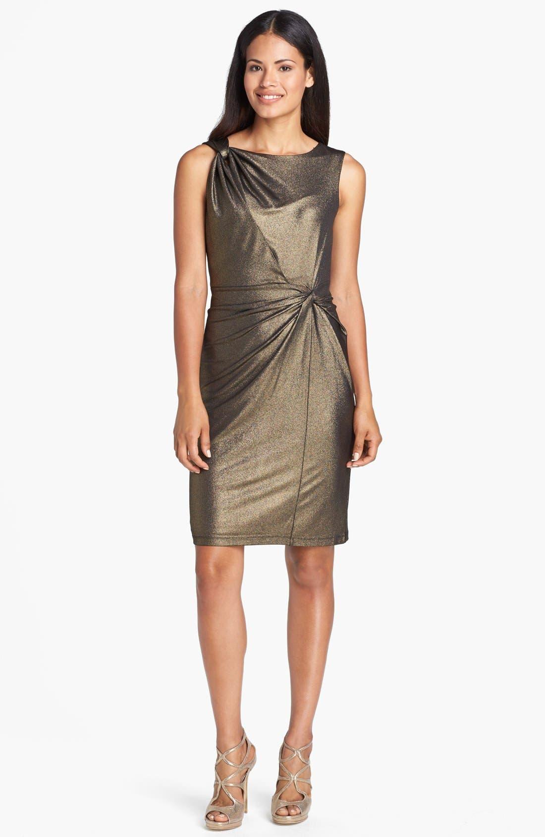 Main Image - Ellen Tracy Side Knot Metallic Jersey Sheath Dress