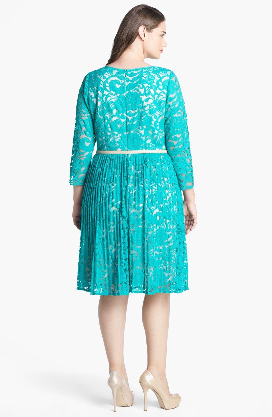 Alternate Image 2  - Eliza J Lace Fit & Flare Dress (Plus Size)