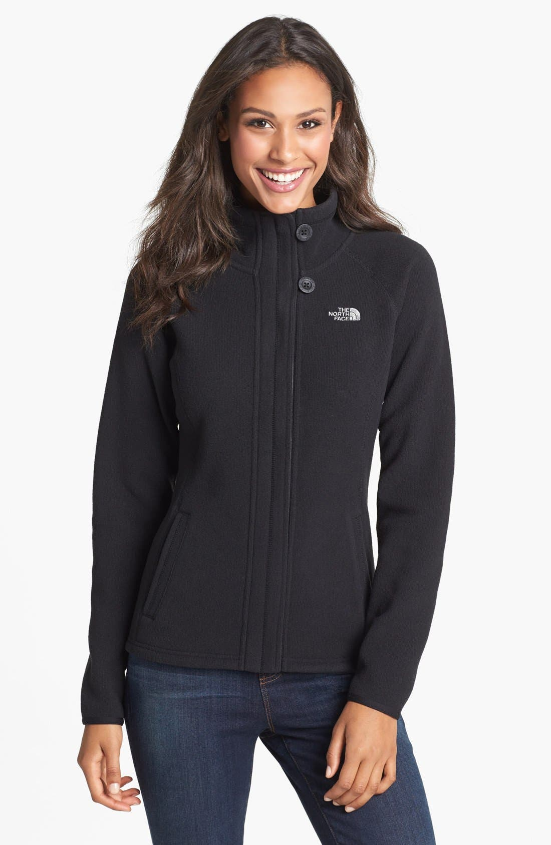 'Crescent' Full Zip Jacket,                             Main thumbnail 1, color,                             Black