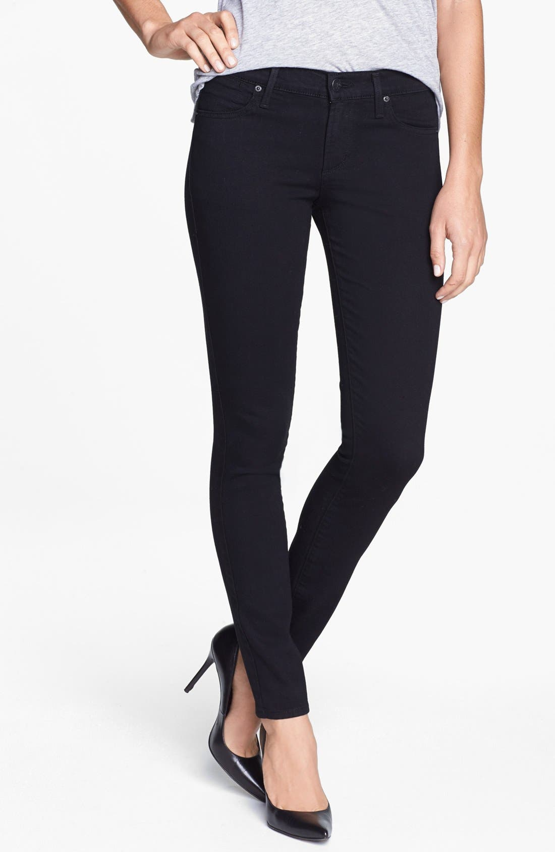 Main Image - A Gold E 'Colette' Skinny Jeans (Dark Knights)