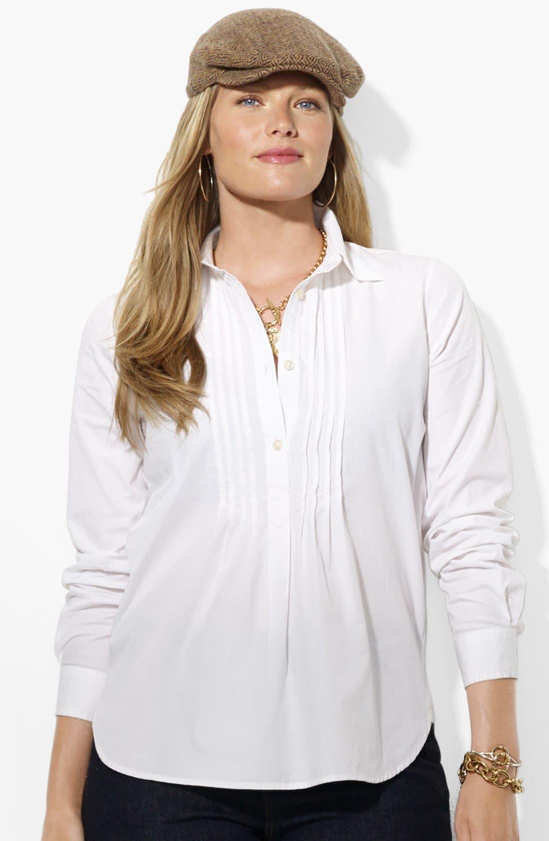 Alternate Image 1 Selected - Lauren Ralph Lauren Cotton Shirt (Plus Size)