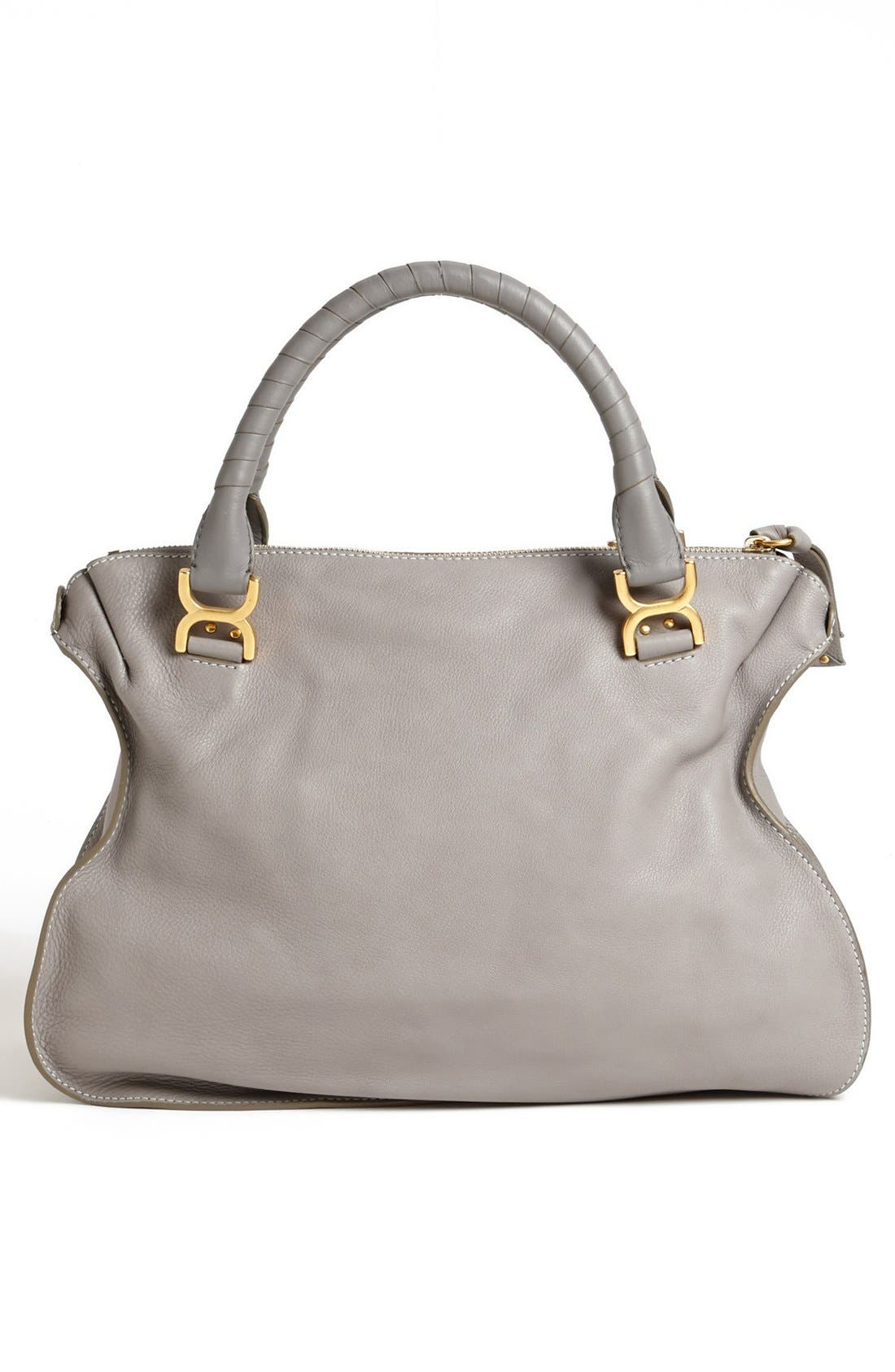 Large Marcie Leather Satchel,                             Alternate thumbnail 3, color,                             Cashmere Grey