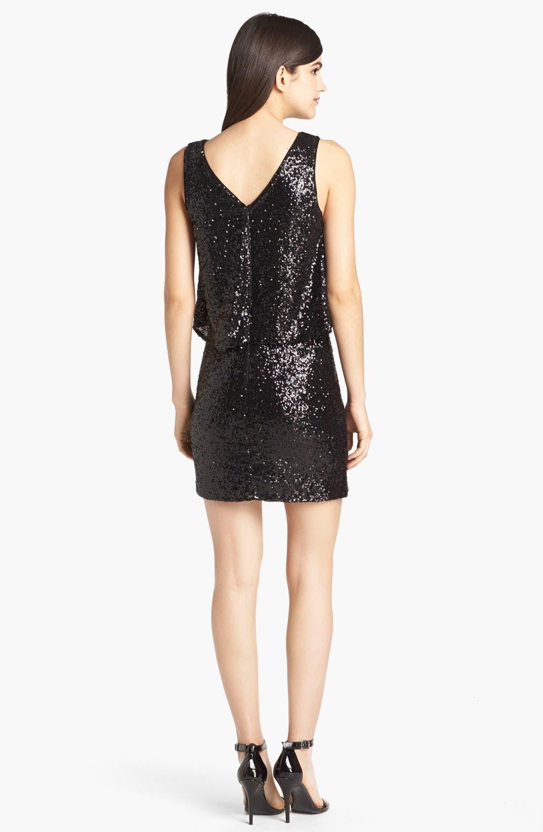 Draped Sequin Dress,                             Alternate thumbnail 2, color,                             Black