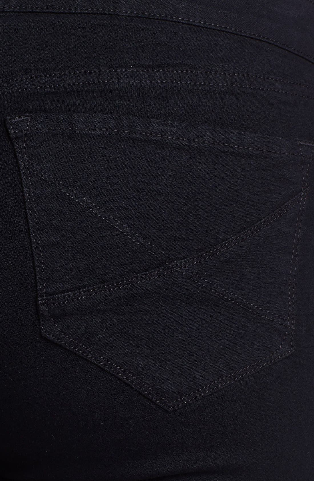 Alternate Image 3  - NYDJ 'Hayden' Embroidered Pocket Stretch Straight Leg Jeans (Black) (Petite Plus Size)