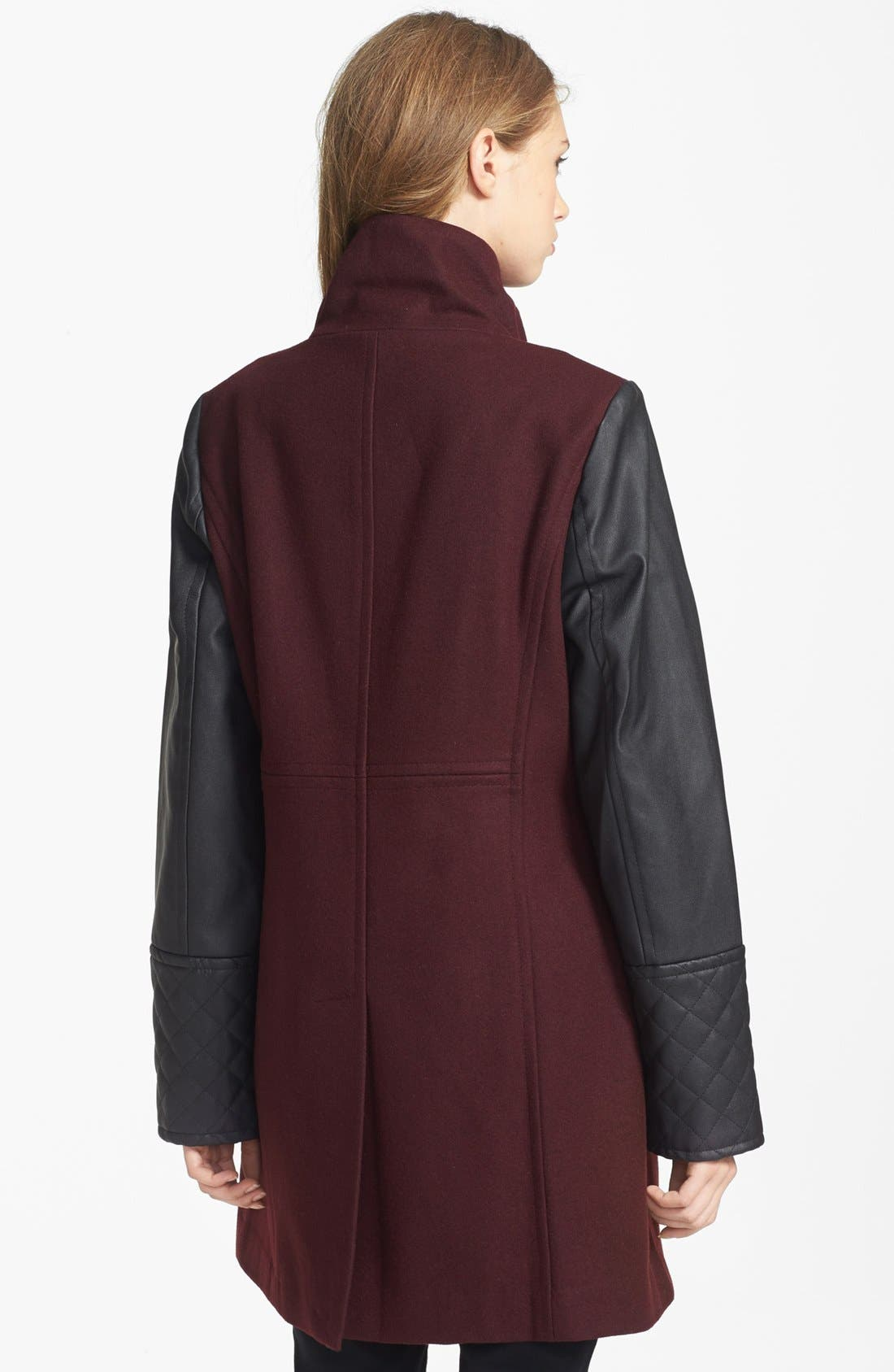 Alternate Image 2  - MICHAEL Michael Kors Faux Leather Sleeve Wool Blend Coat