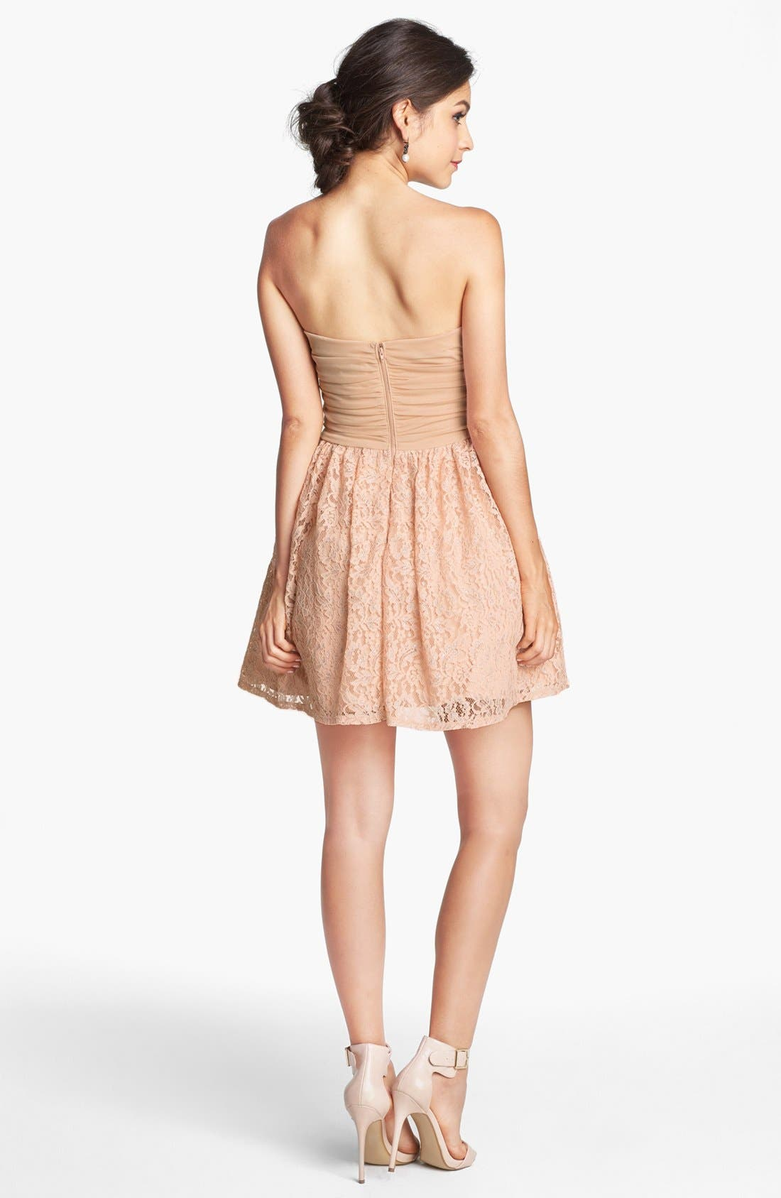 Alternate Image 2  - Way-In Embellished Lace Fit & Flare Dress (Juniors) (Online Only)