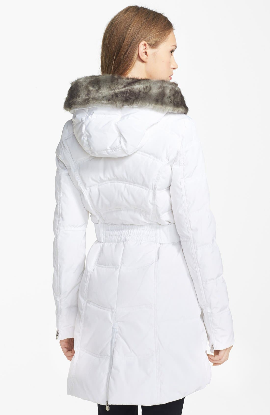 Alternate Image 2  - Laundry by Shelli Segal Faux Fur Collar Down & Feather Coat (Online Only)