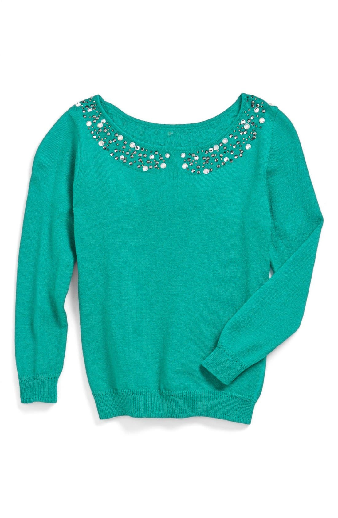 Main Image - Milly Minis Rhinestone Collar Sweater (Toddler Girls, Little Girls & Big Girls)