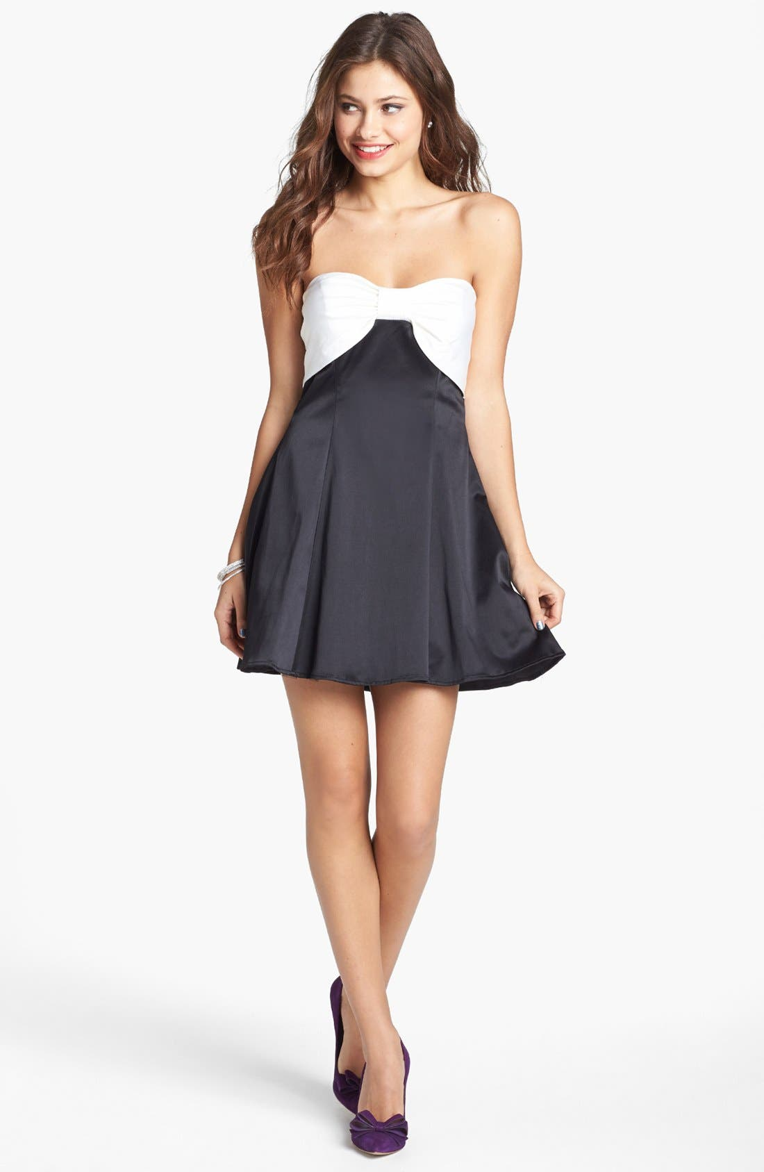 Alternate Image 1 Selected - Trixxi Bow Front Strapless Dress (Juniors)