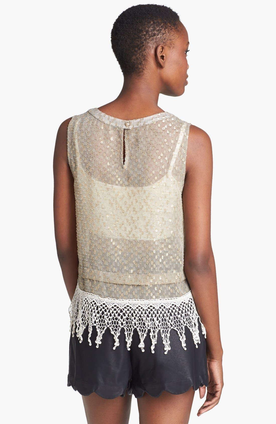 Alternate Image 2  - ASTR Crochet Fringed Metallic Shell
