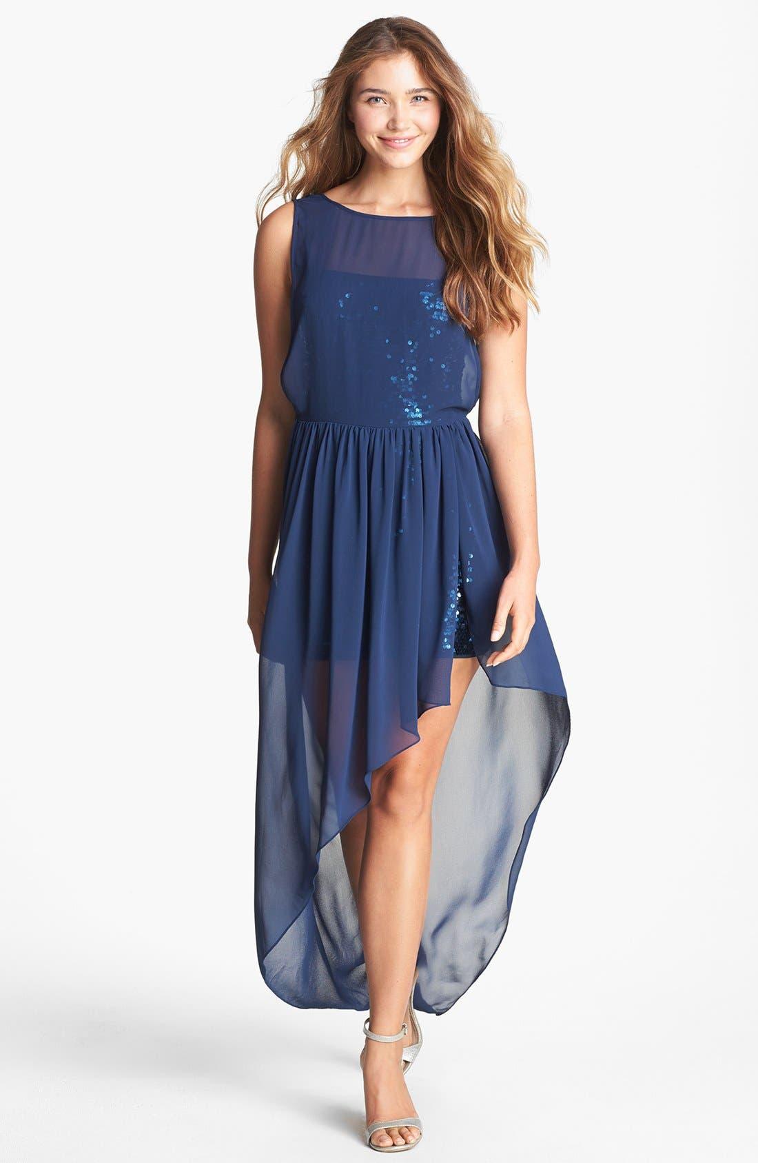 Alternate Image 1 Selected - BCBGMAXAZRIA Sequin & Sheer Chiffon High/Low Dress