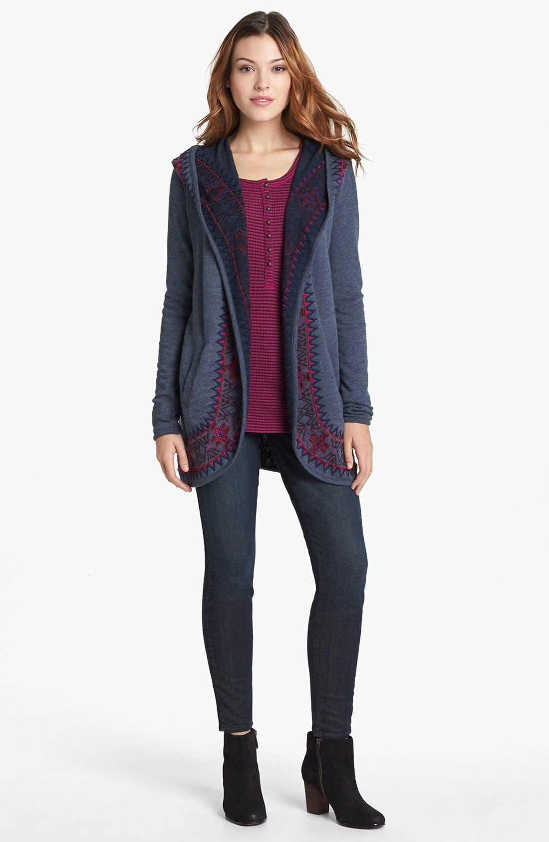 Alternate Image 4  - Lucky Brand 'Carina' Stripe Thermal Knit Tee