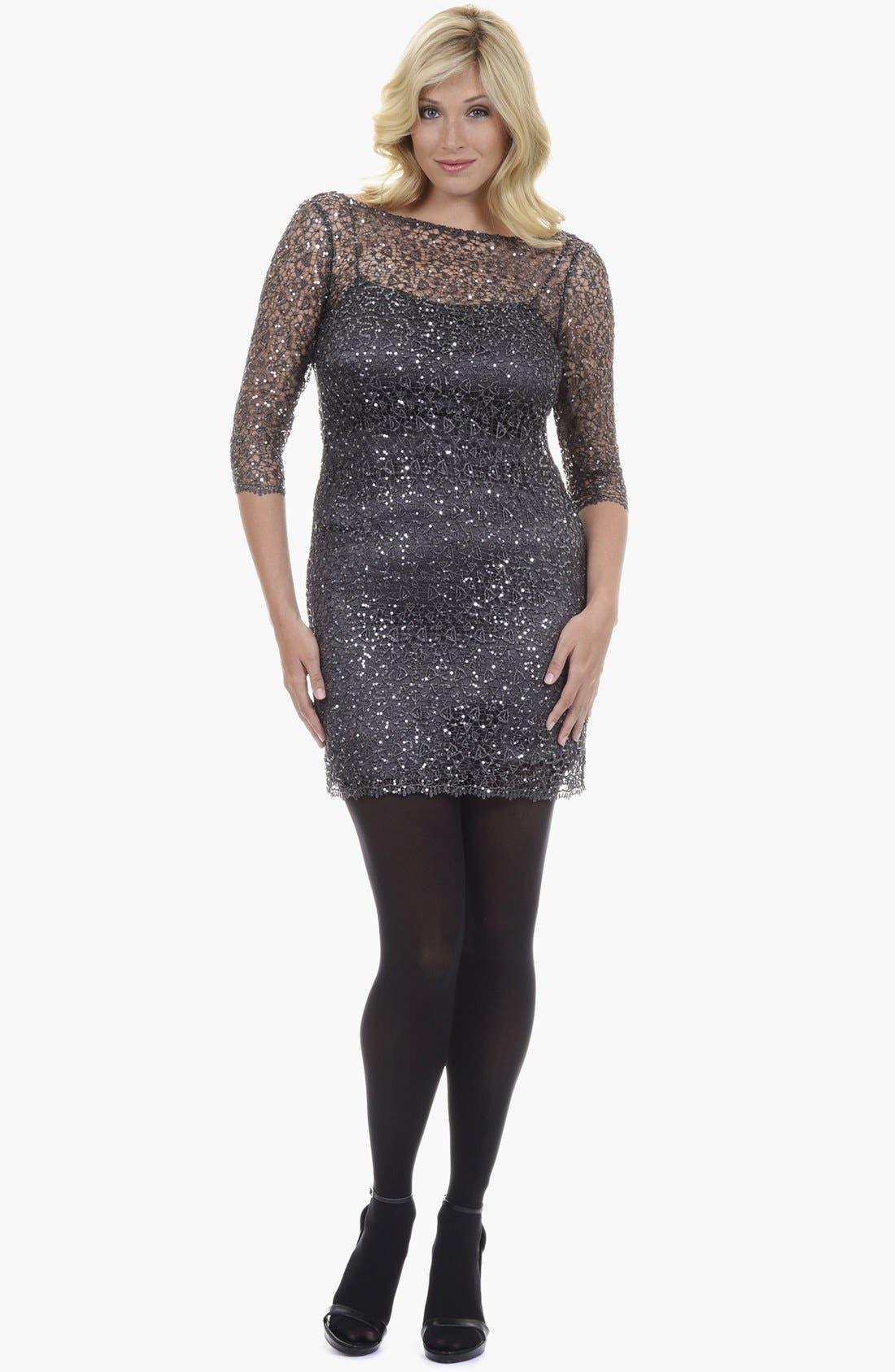 Main Image - Kay Unger Sequin Lace Dress (Plus Size)