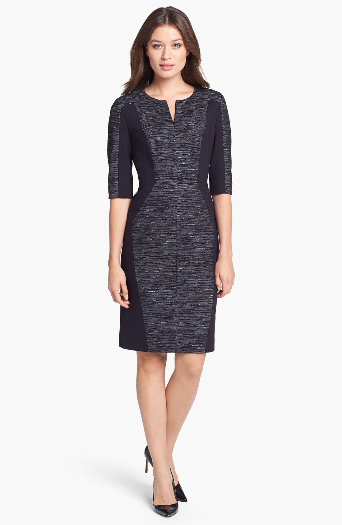 Main Image - Classiques Entier® Mélange Ponte di Roma Zip Front Dress