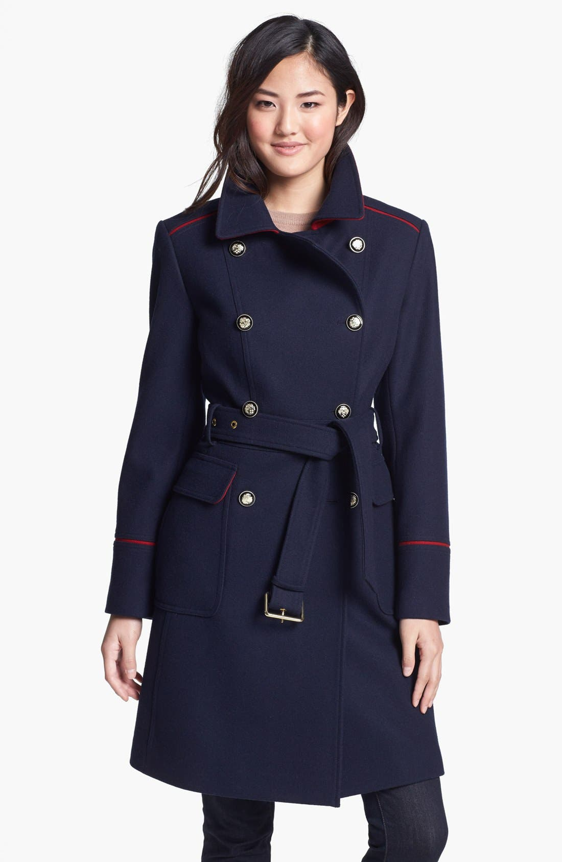 Main Image - Vince Camuto Contrast Piping Belted Military Coat