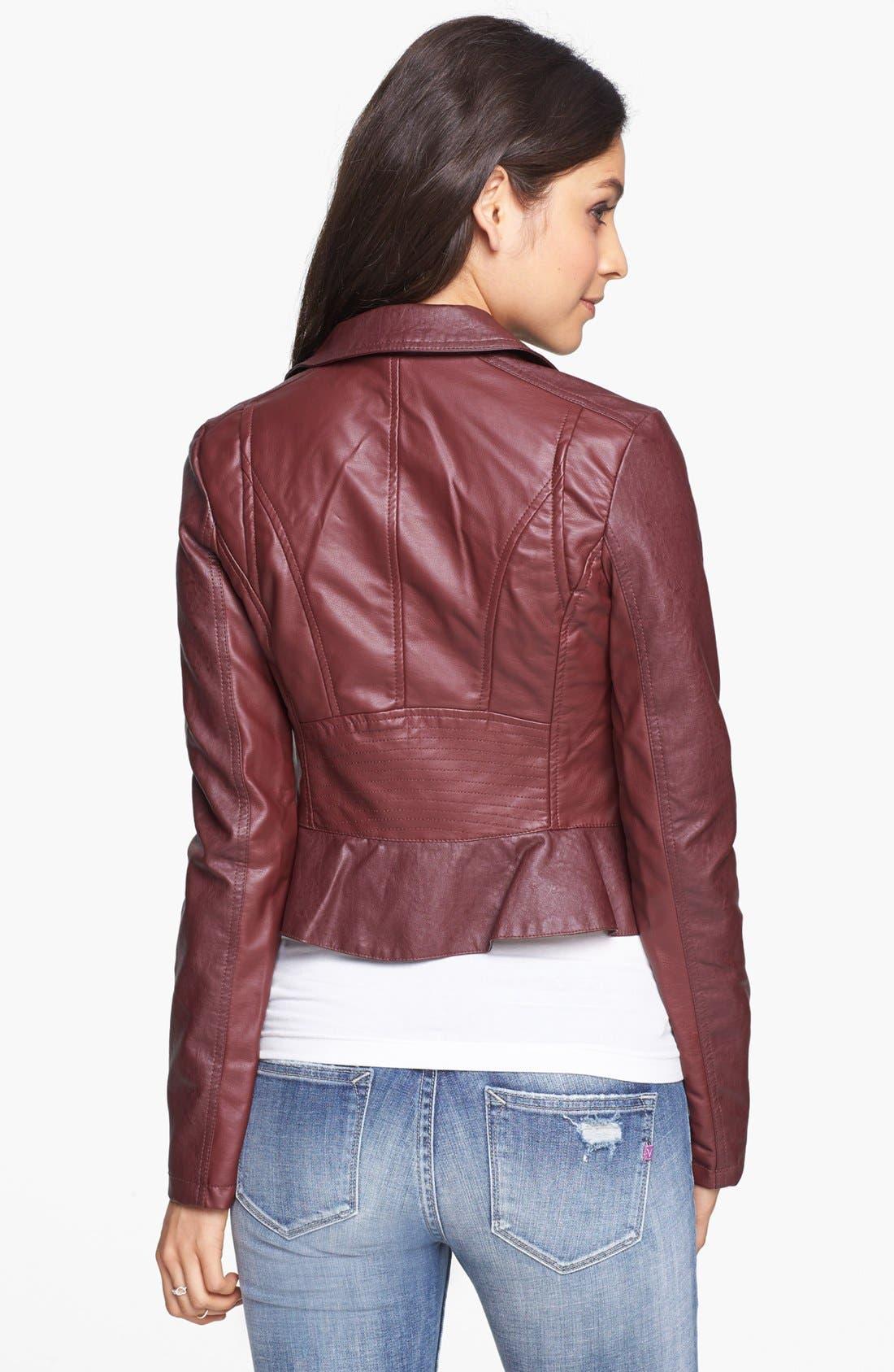 Alternate Image 2  - Collection B Faux Leather Peplum Moto Jacket (Juniors)