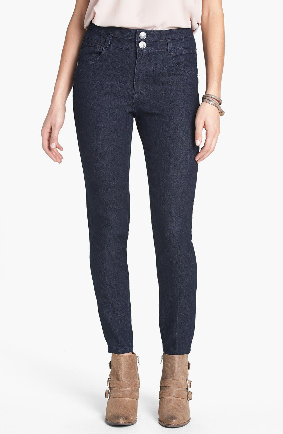 Alternate Image 1 Selected - Jolt High Waist Skinny Ankle Jeans (Juniors) (Online Only)