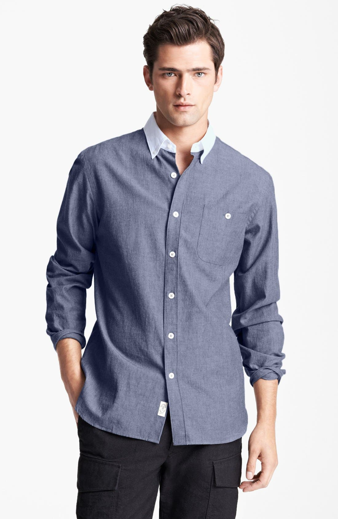 Main Image - Todd Snyder Chambray Sport Shirt with Contrast Collar
