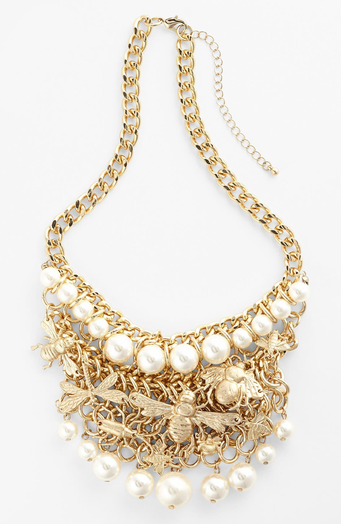 Alternate Image 1 Selected - Tildon Faux Pearl & Insect Statement Necklace