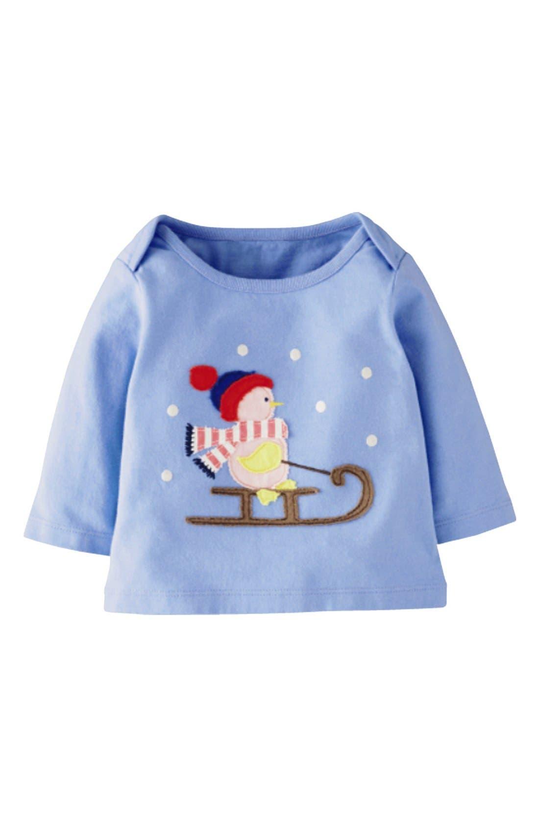 Main Image - Mini Boden 'Festive' Appliqué Tee (Baby Girls)