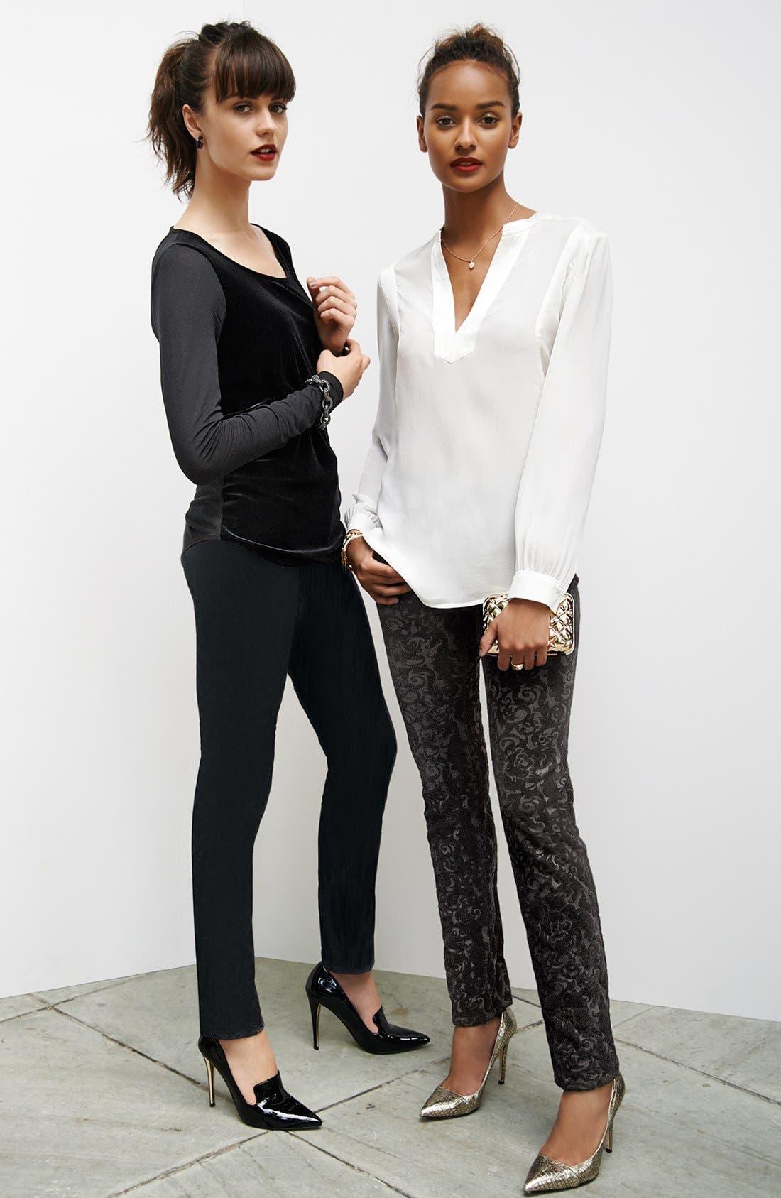 Alternate Image 4  - NYDJ 'Sheri' Flocked Stretch Skinny Jeans