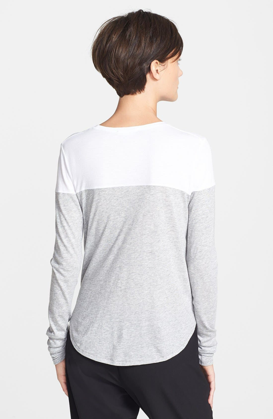 Colorblock Long Sleeve Tee,                             Alternate thumbnail 2, color,                             Heather Grey/ White