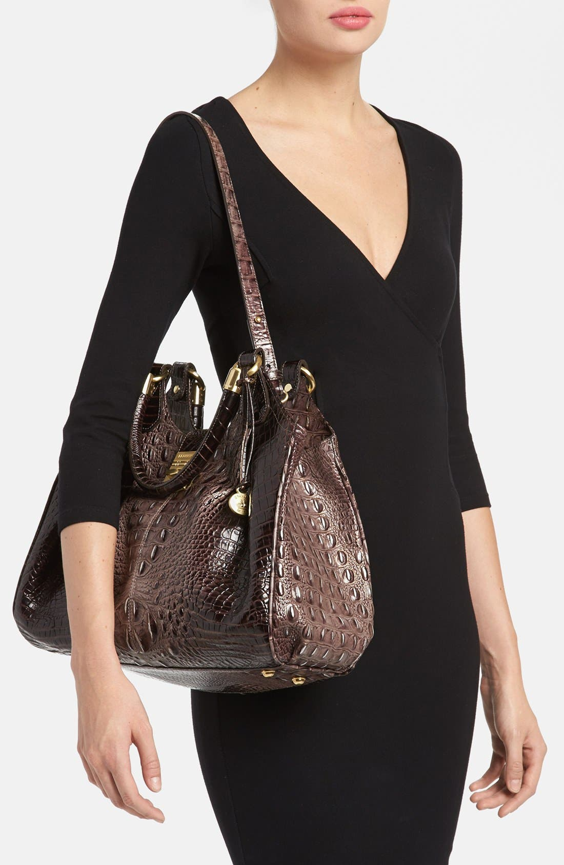 Alternate Image 4  - Brahmin Elisa Croc Embossed Leather Shoulder Bag