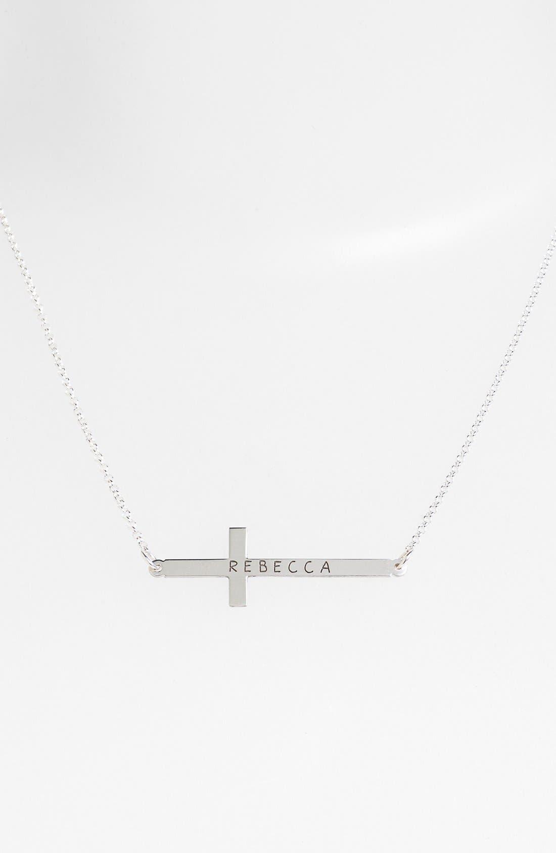 Main Image - Argento Vivo Personalized Sideway Cross Monogram Necklace (Nordstrom Exclusive)
