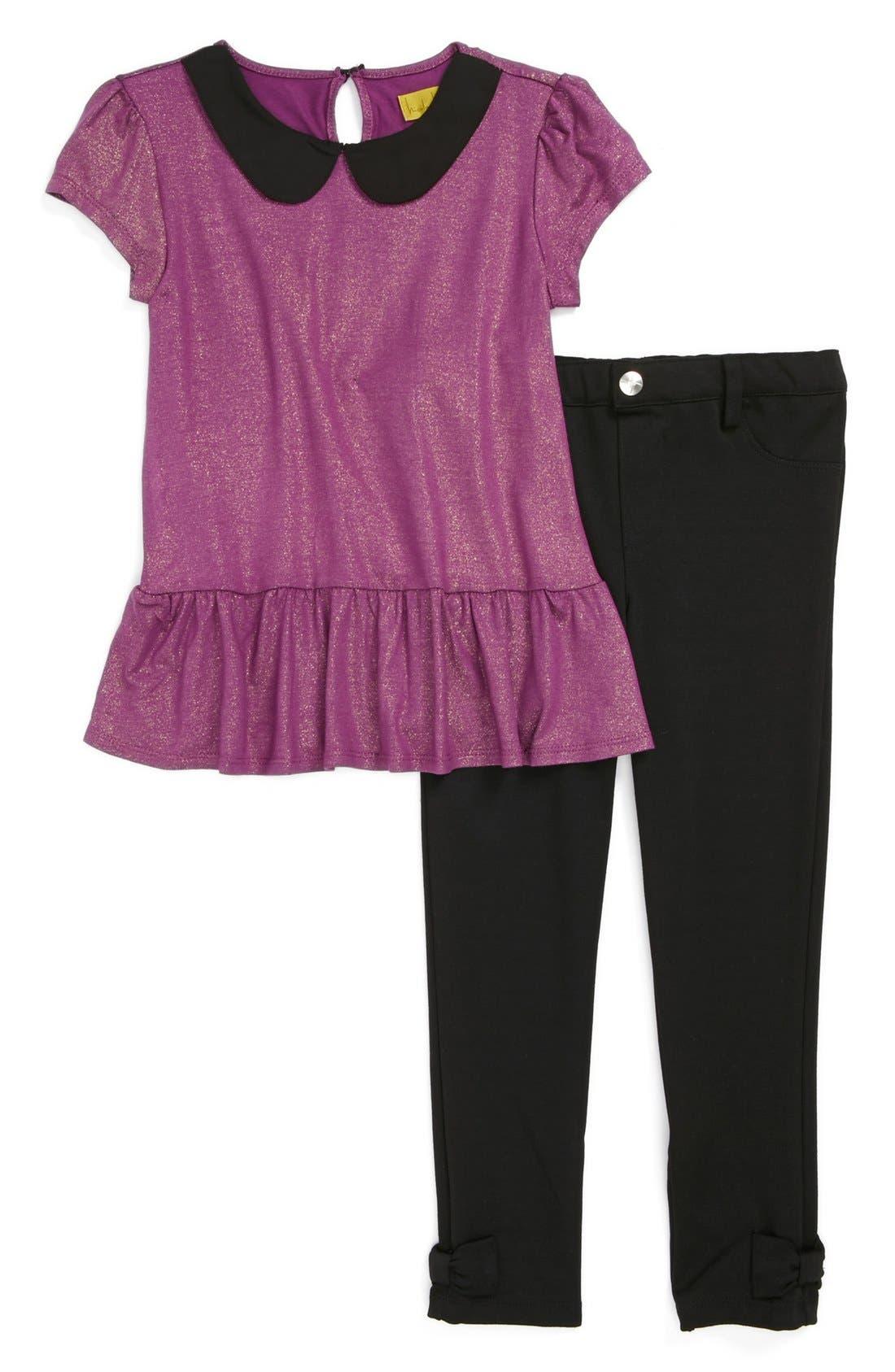 Alternate Image 1 Selected - Nicole Miller Tunic & Leggings (Little Girls)