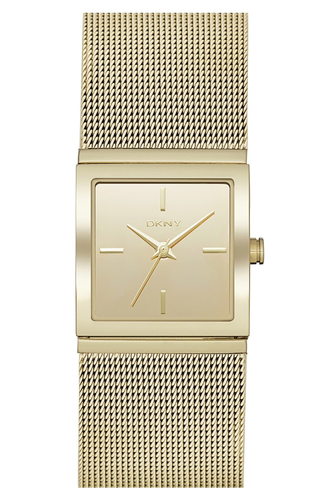 Main Image - DKNY 'Bryant Park' Square Mesh Strap Watch, 21mm