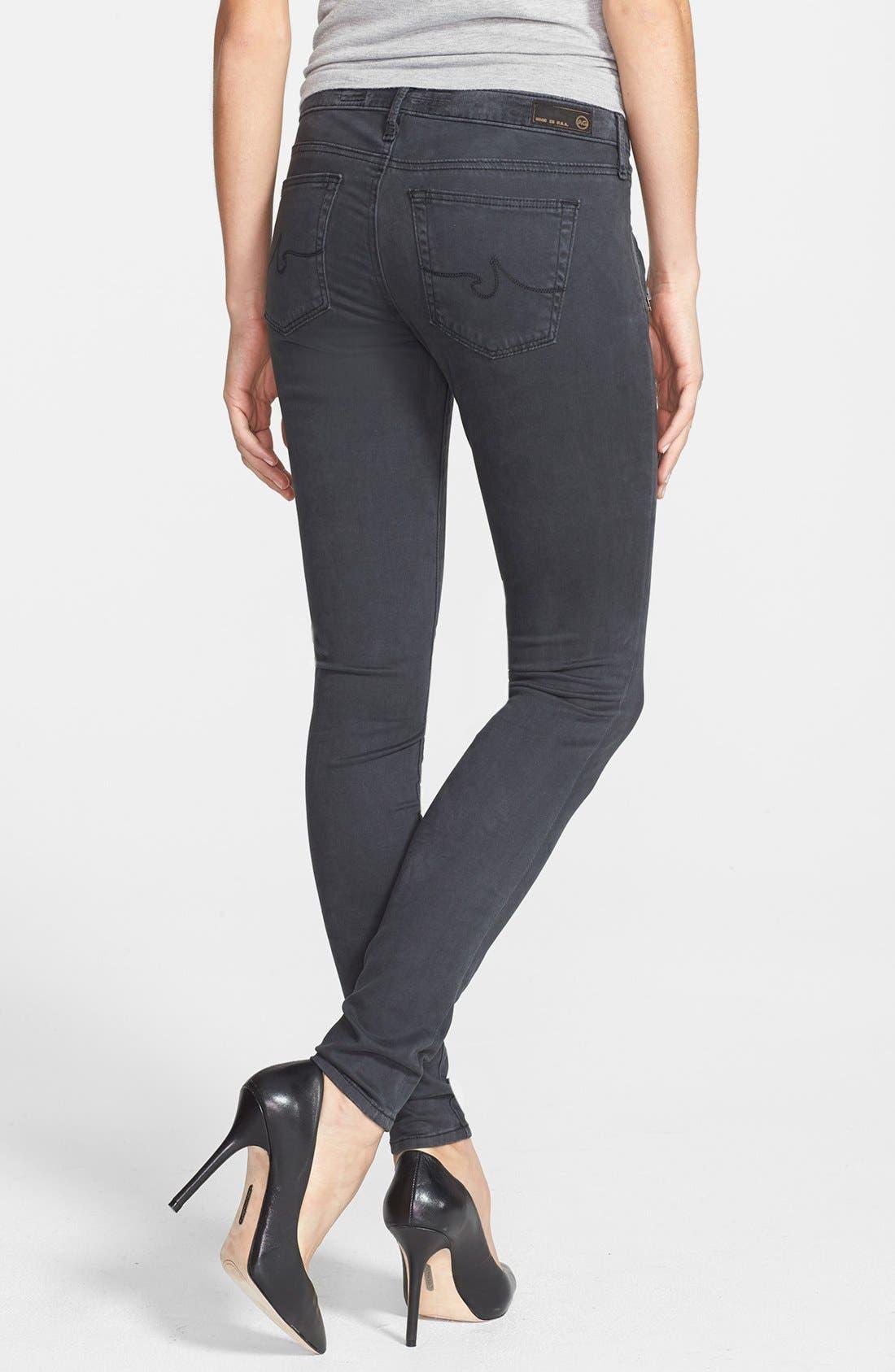 Alternate Image 2  - AG Zip Pocket Sateen Skinny Jeans (Sulfur Dark Charcoal)