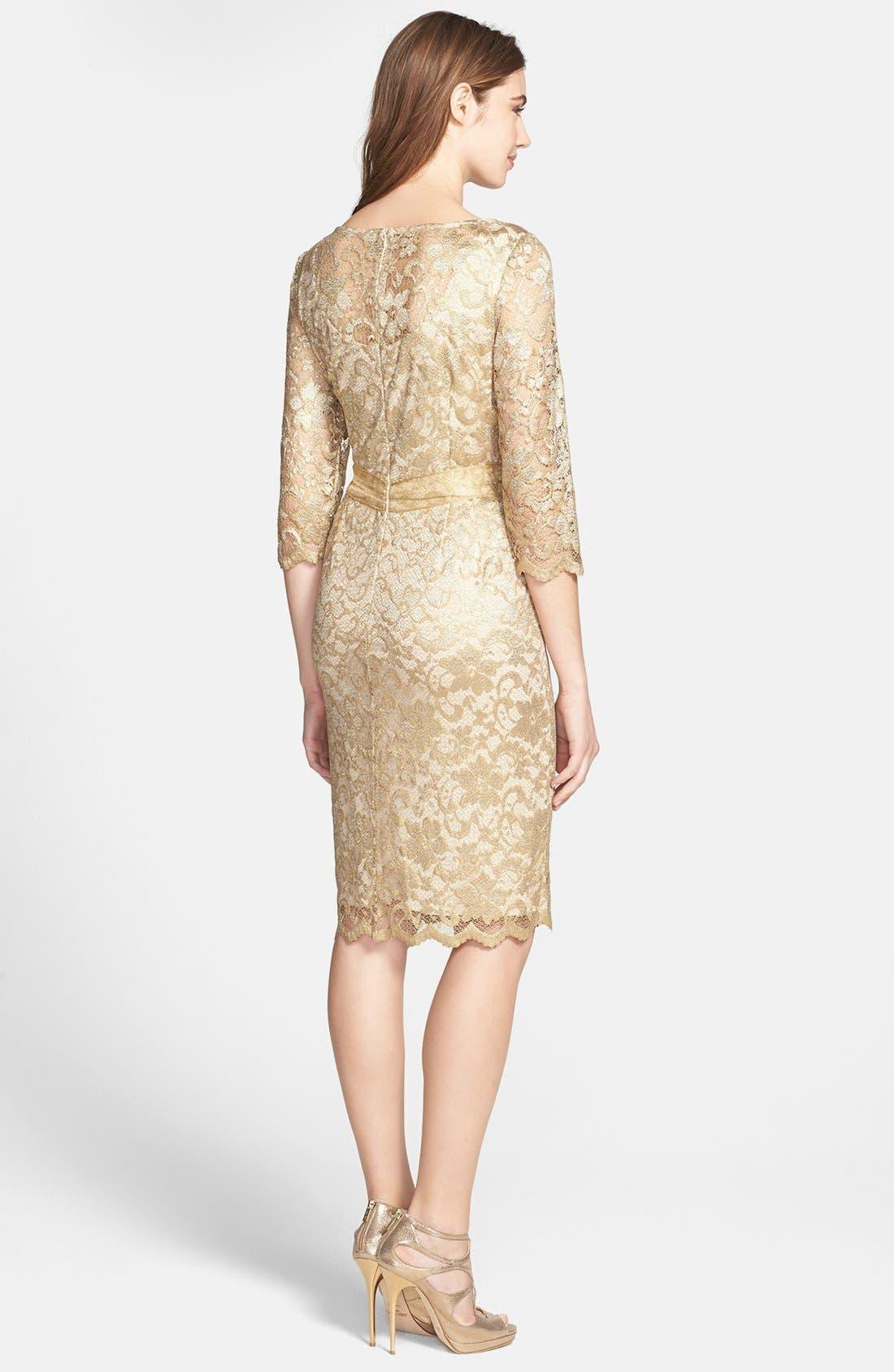 Alternate Image 2  - Alex Evenings Illusion Sleeve Lace Dress (Petite)