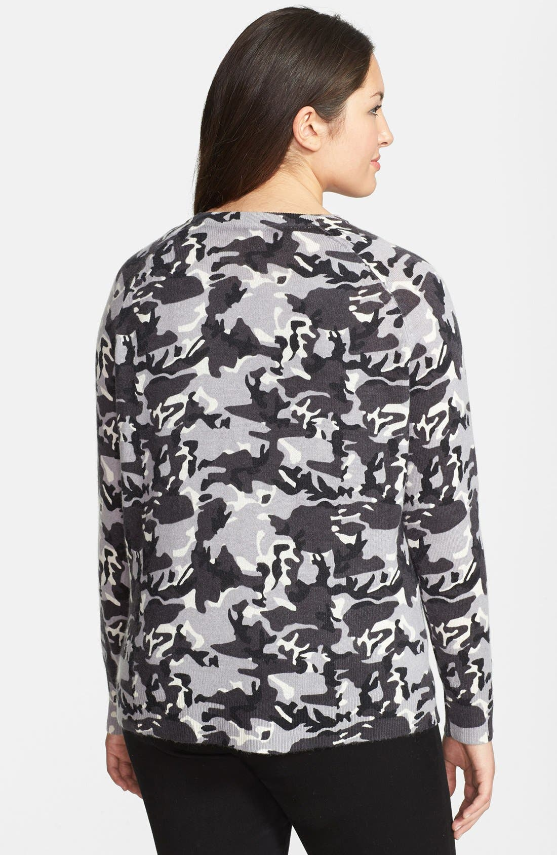 Alternate Image 2  - Halogen® Camo Print Wool Blend Pullover (Plus Size)