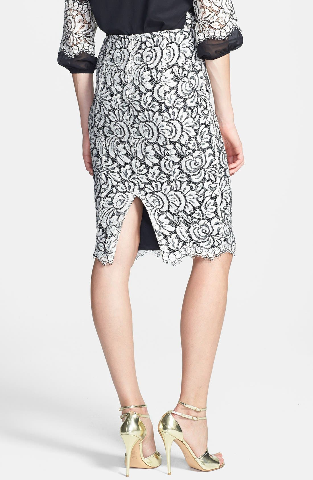 Alternate Image 4  - St. John Collection Scallop Hem Graphic Lace Pencil Skirt