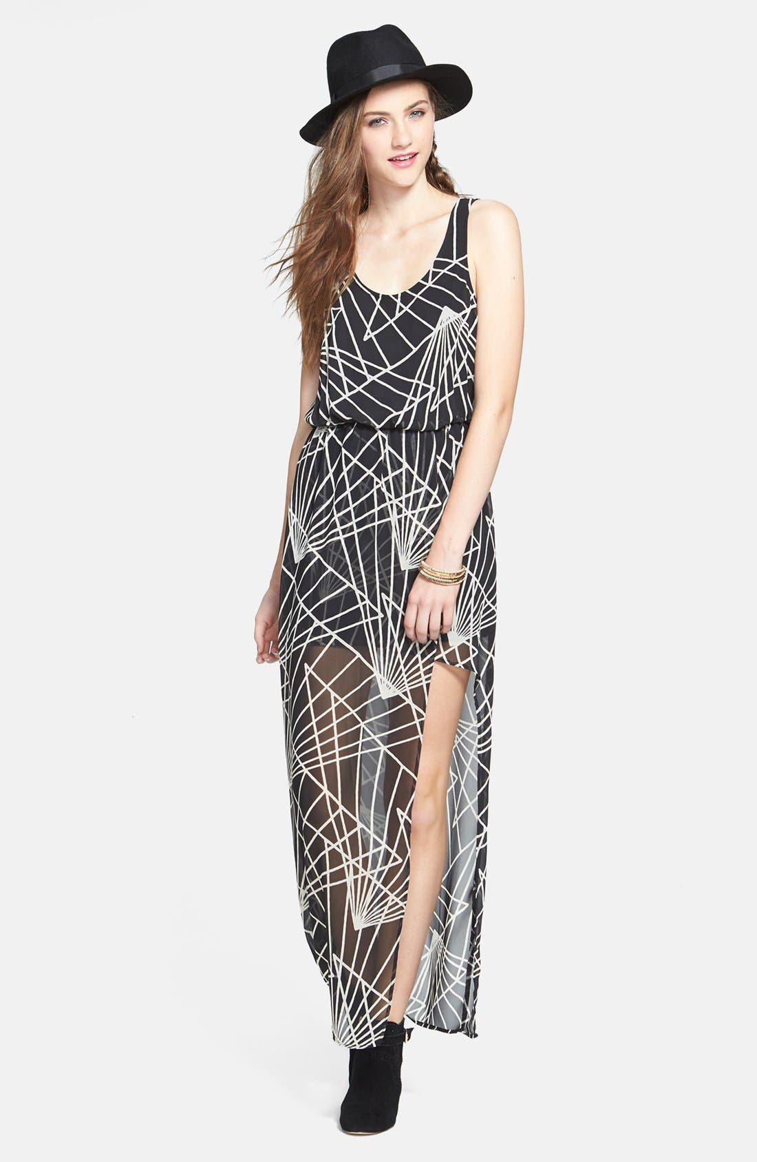 Faux Wrap Chiffon Maxi Dress,                         Main,                         color, Black/ White