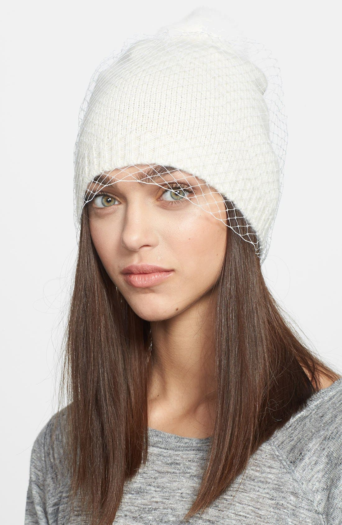 Main Image - BCBGMAXAZRIA 'Winter Veil' Beanie with Genuine Fur Pompom