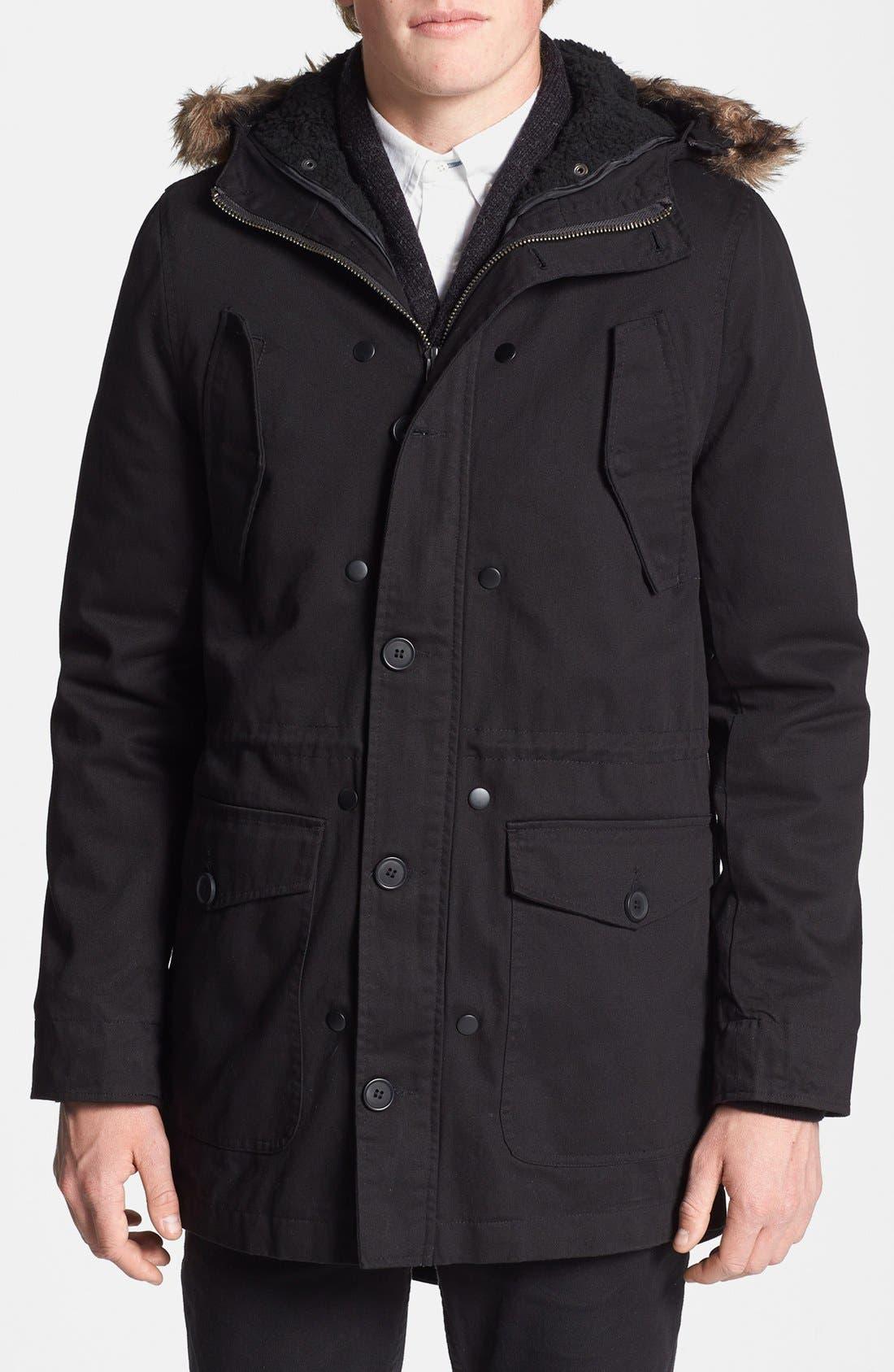 Alternate Image 1 Selected - Topman Fishtail Parka with Detachable Faux Fur Trimmed Hood