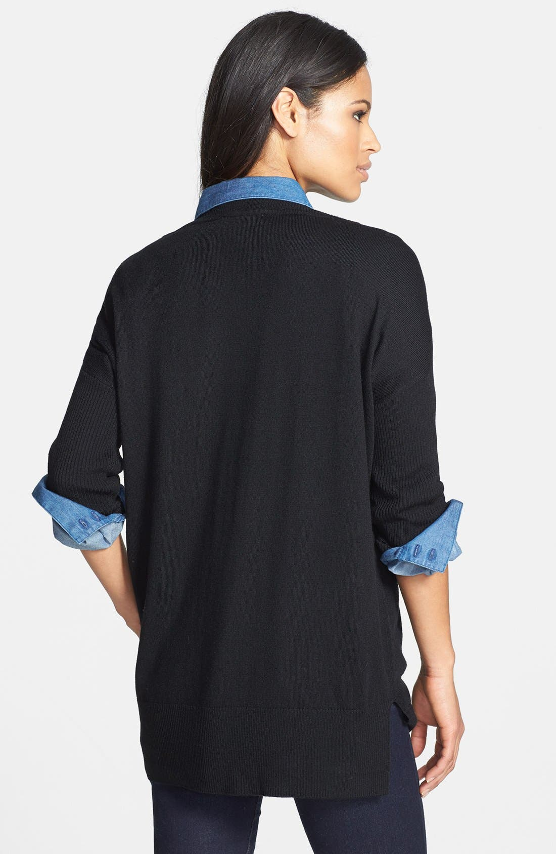 Dolman Sleeve Tunic Sweater,                             Alternate thumbnail 2, color,                             Rich Black