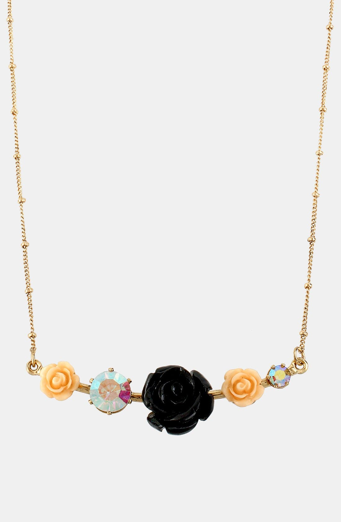 Alternate Image 1 Selected - Betsey Johnson 'Fab Flowers' Frontal Necklace