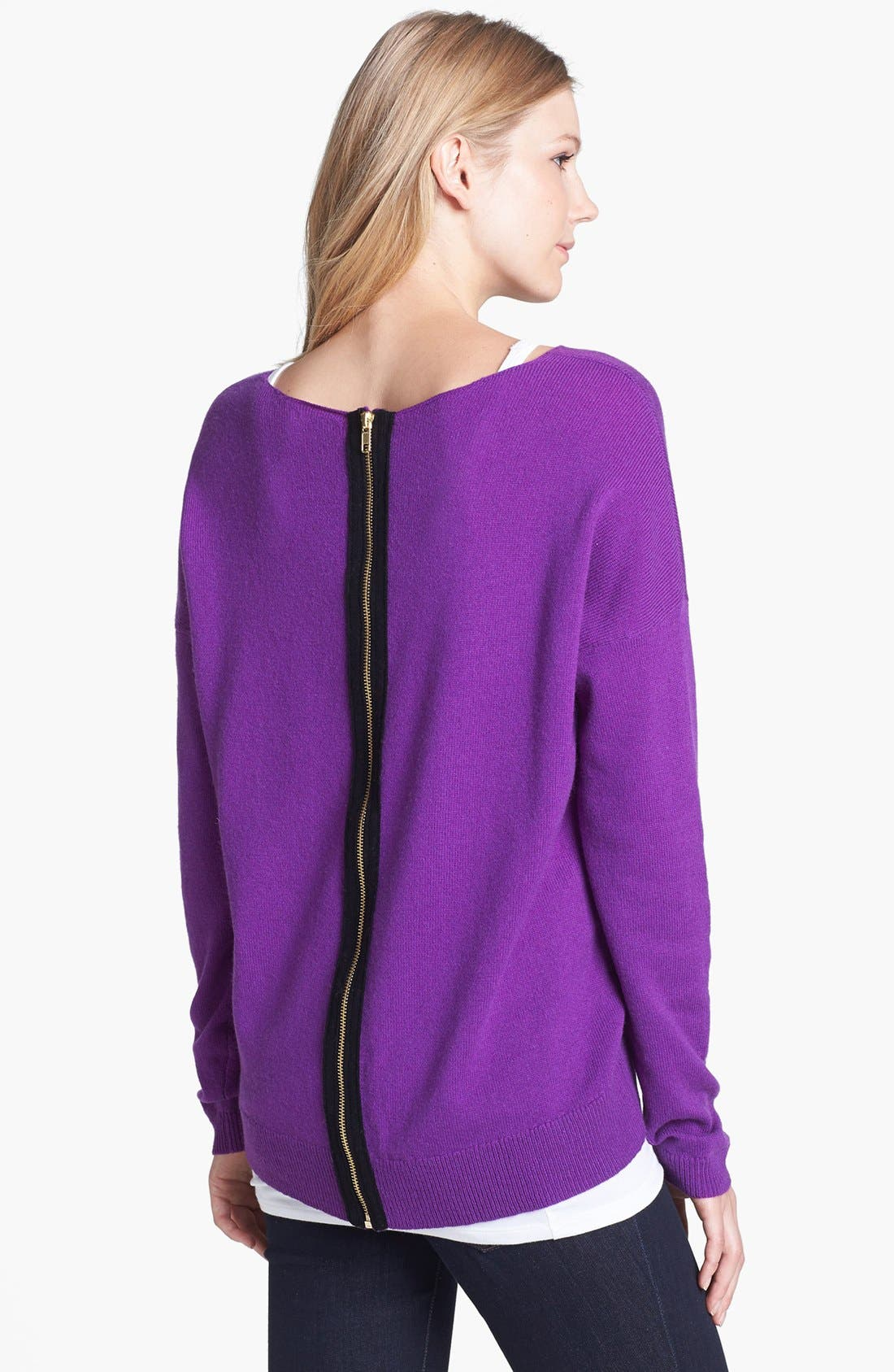 Alternate Image 2  - Halogen® Wool & Cashmere Back Zip Sweater (Petite)