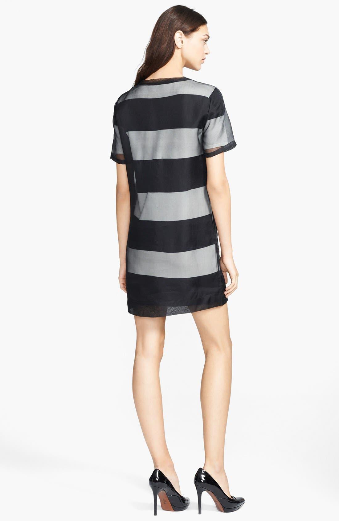 Alternate Image 2  - T by Alexander Wang Organza Overlay Stripe T-Shirt Dress