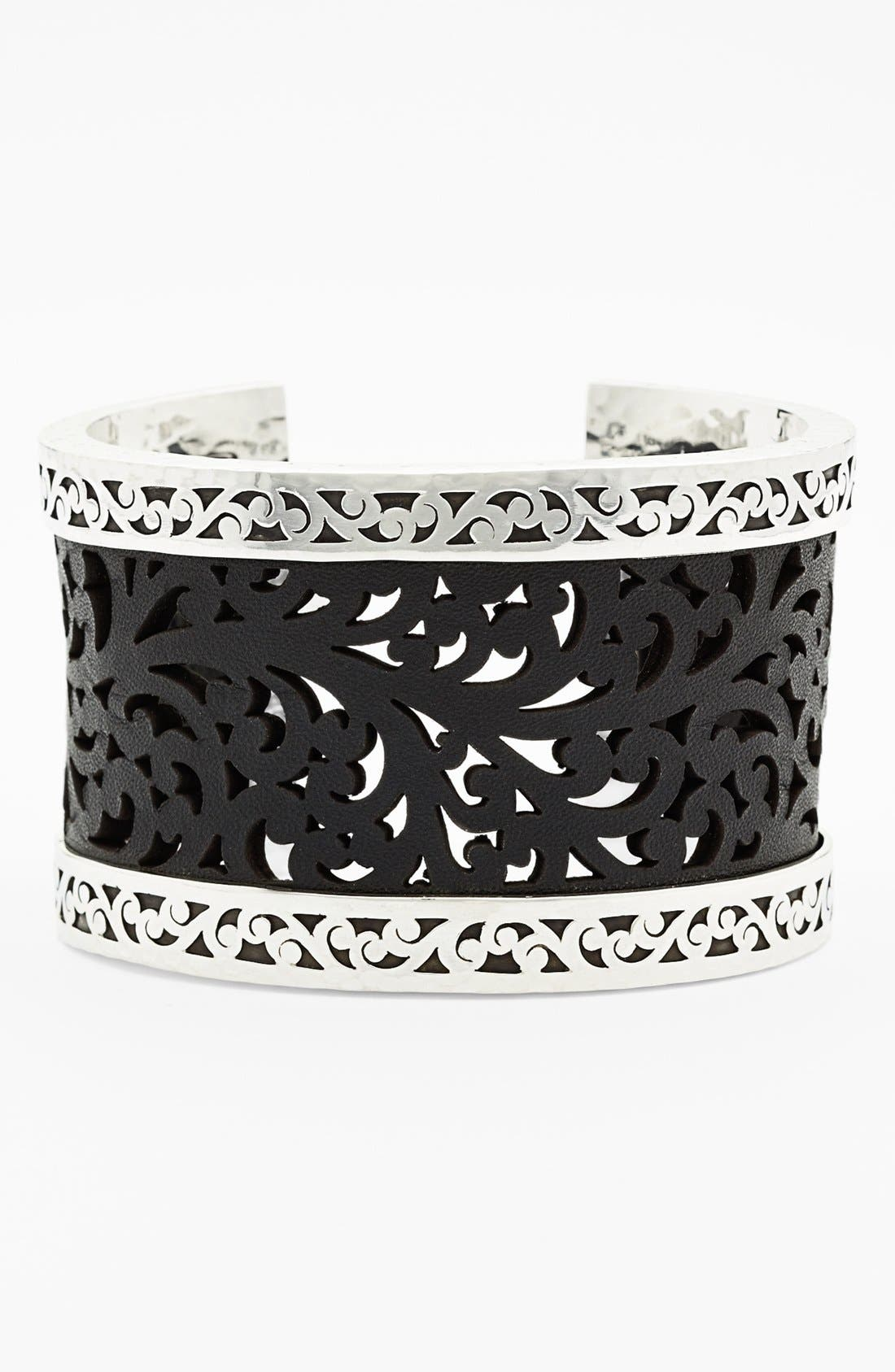 Main Image - Lois Hill Large Leather & Sterling Silver Cuff