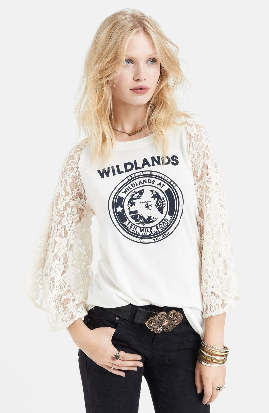 Alternate Image 1 Selected - Free People 'Rock Me' Lace Sleeve Cotton Tee