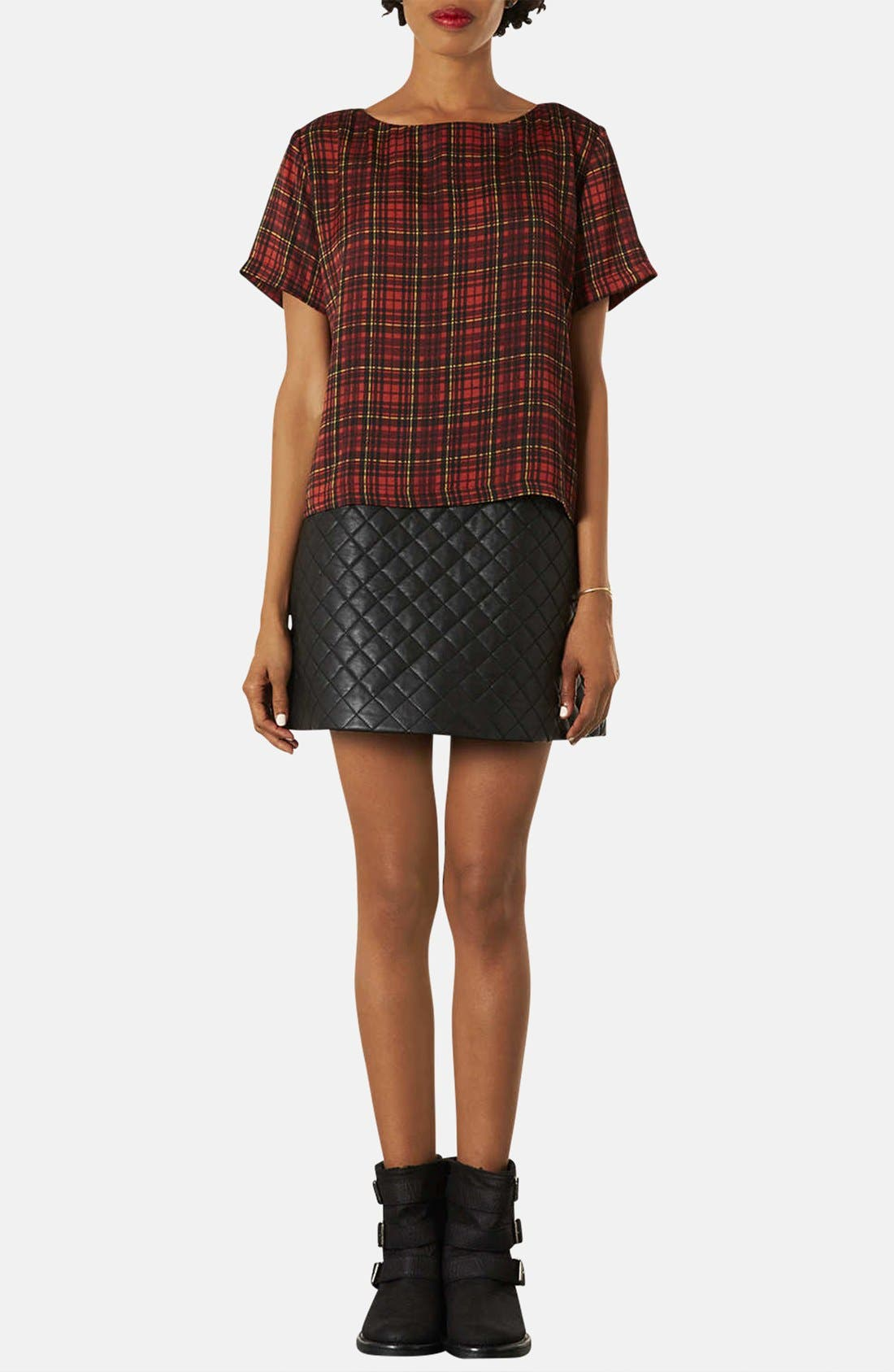 Alternate Image 4  - Topshop Quilted A-Line Skirt (Petite)