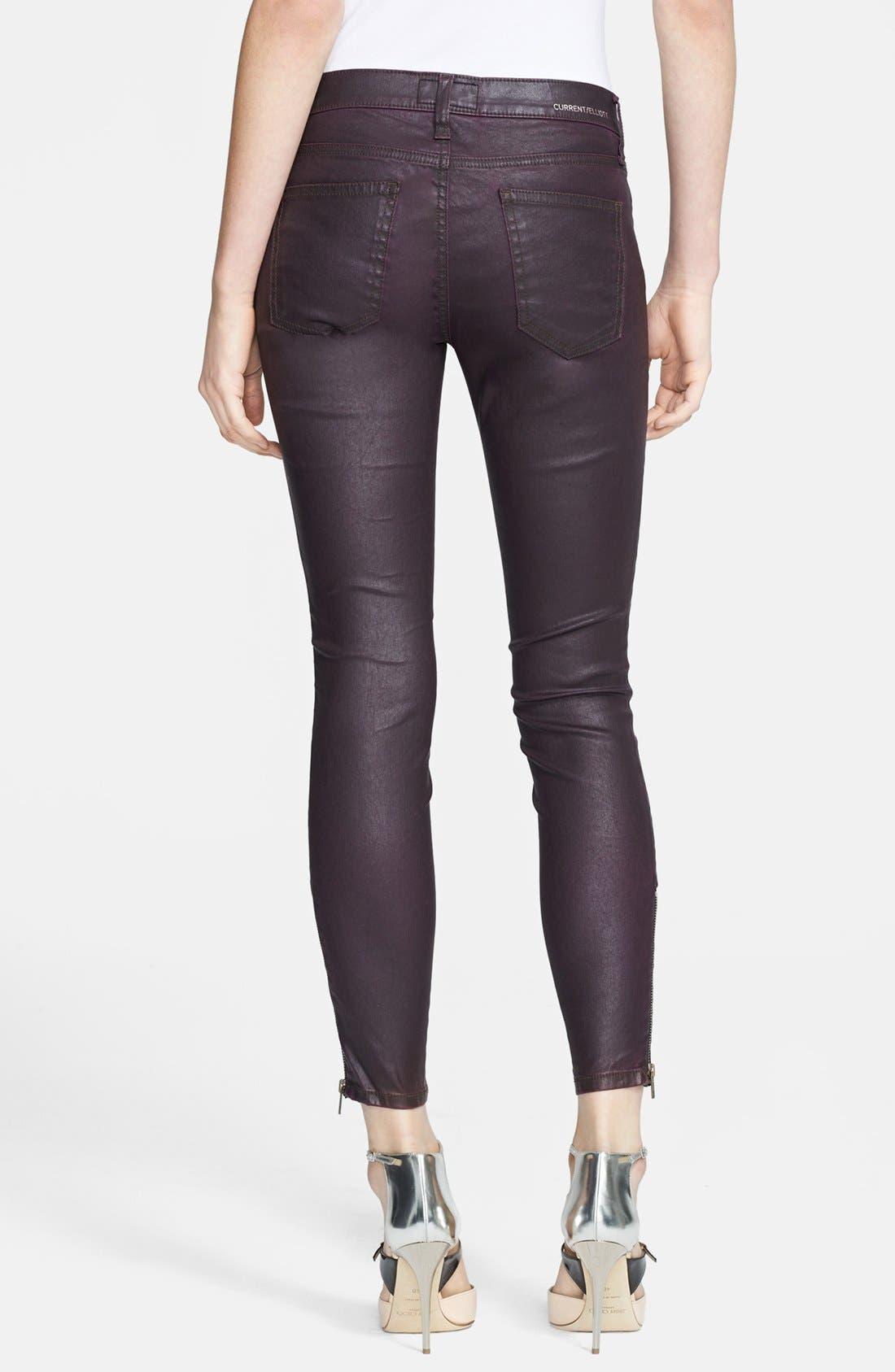 Alternate Image 2  - Current/Elliott 'The Soho Zip' Skinny Coated Jeans