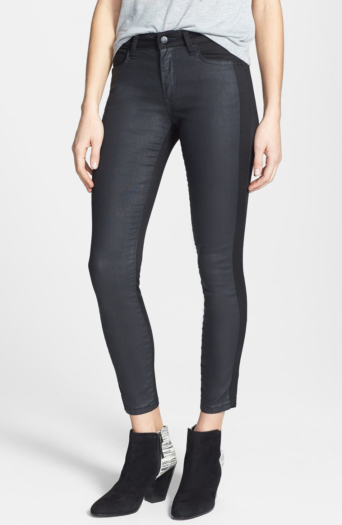 Main Image - Joe's 'The Oblique' Contrast Panel Crop Skinny Jeans (Kathy)