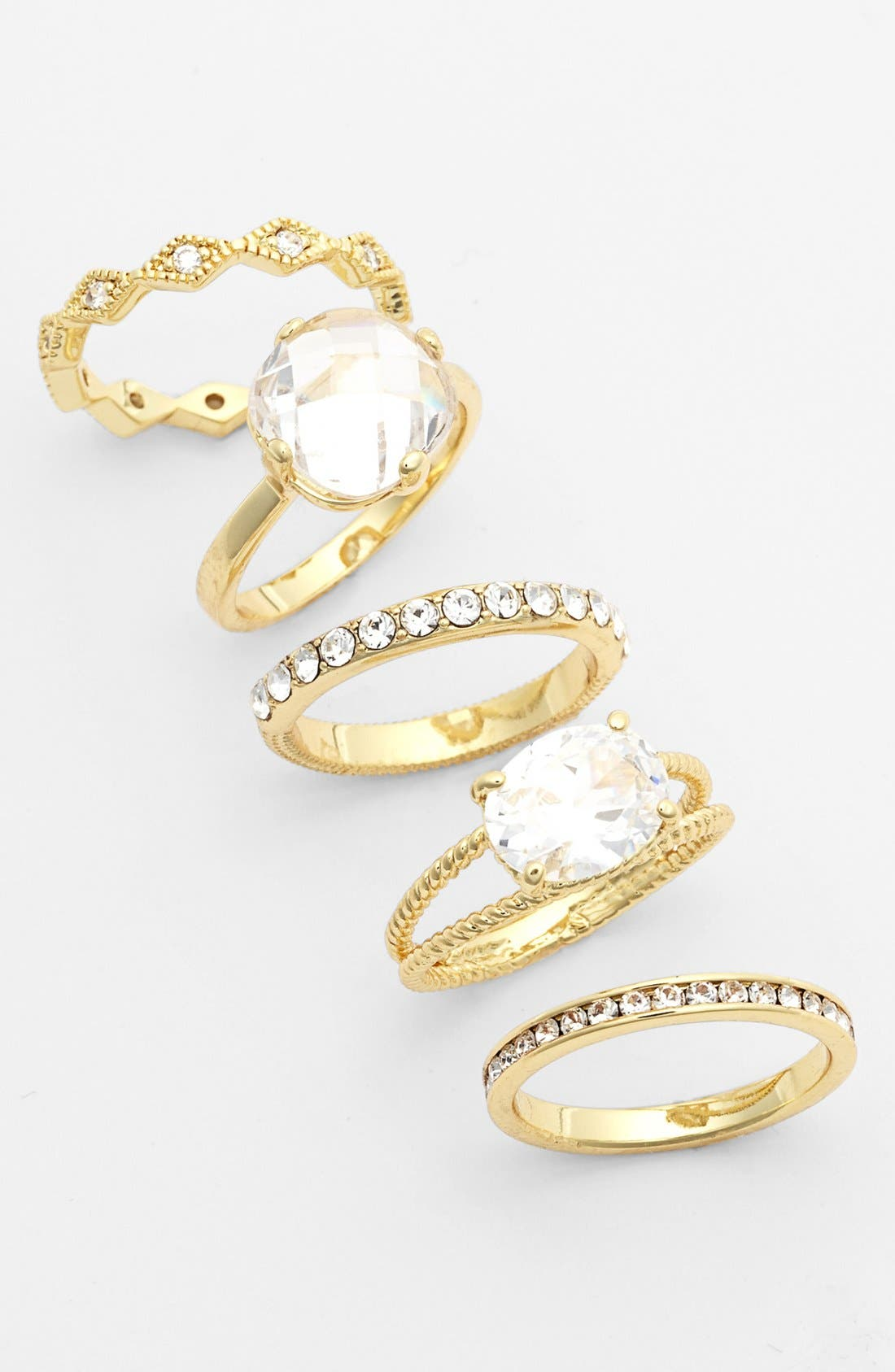 Mixed Stackable Rings,                             Main thumbnail 1, color,                             Clear/ Gold