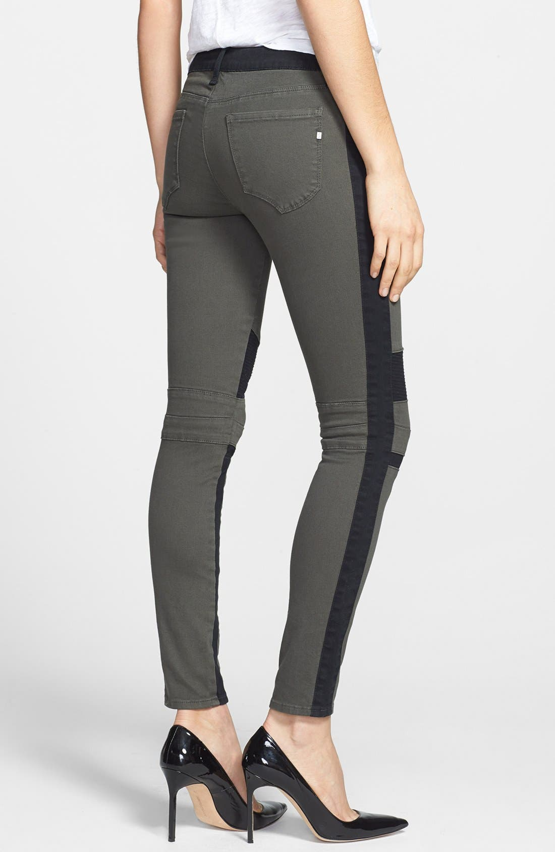 Alternate Image 2  - Genetic 'Sadie' Two-Tone Moto Skinny Jeans (Chrome)