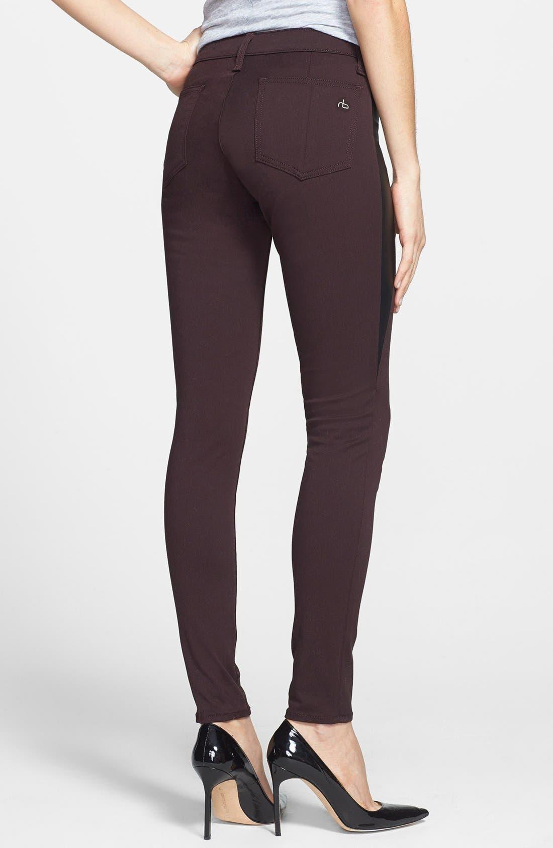Alternate Image 2  - rag & bone/JEAN 'Pop' Leather Inset Skinny Jeans (Wine)
